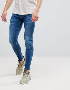 Browse online for the newest River Island Super Skinny Jeans In Mid Blue Wash styles. Shop easier with ASOS' multiple payments and return options (Ts&Cs apply). Men Street Look, Spray On Jeans, Blue Jean Outfits, Tights Outfit, Mens Fashion, Fashion Outfits, Super Skinny Jeans, Mens Clothing Styles, Stylish Men