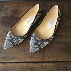 Jimmy Choo Alina in Black and White Jimmy Choo Alina in Black and White.  Worn once for an event.  In fantastic condition!  Woven fabric w/leather lining.  True to size.  See pics for more details. Jimmy Choo Shoes