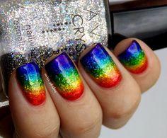 Rainbow glitter nail art