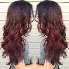 Hair color red highlights, balayage hair colour, ombre hair color for brunettes, balayage Red Balayage Highlights, Red Balayage Hair, Auburn Balayage, Caramel Balayage, Red Bayalage, Balayage Hairstyle, Caramel Highlights, Red Foils Hair, Black Hair With Red Highlights
