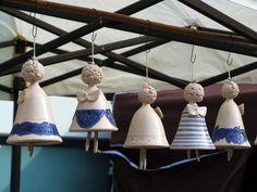 Pottery Angels, Ceramic Angels, Decorative Bells, Ceramics, A5, Vintage, Embellishments, Garden, Fimo