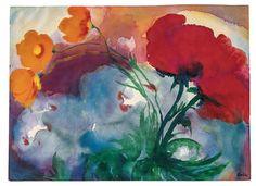 transistoradio:  Emil Nolde (1867-1956), Poppies (n.d.), watercolour on Japanese paper, 45.9 x 33.3cm. Via Artsy.