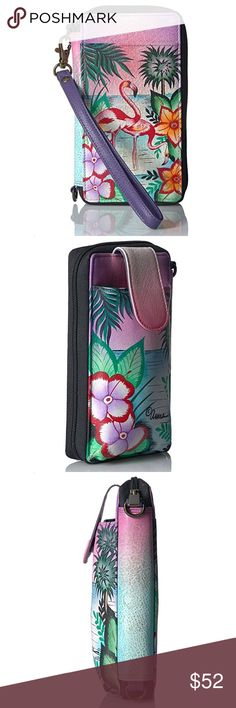 Anuschka convertible crossbody wallet & phone case Genuine leather hand painted Tropical Flamingo wallet and phone case. Cross body, wristlet or clutch. Small enough to fit in a purse. Big enough to carry your essentials. Gently used. Smoke free home. No tears, stains or dollar bills left in wallet!🙂 Anuschka Bags Clutches & Wristlets