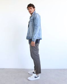The only reason this homie is getting a side-profile mugshot is because he got arrested for getting away with double denim too easily! The B.Rigid Jacket in Thrashed Indigo and B.Line Crop in Dark Olive 'cause double denim can be subtle too. See our new season denim including cropped options via www.barneycools.com