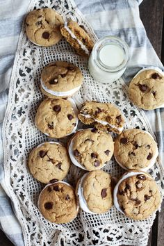Chocolate Chip Banana FlufferNutter Sandwich Cookies - Half Baked Harvest