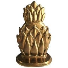 gold brass pineapple bookends - set of 2 | pineapple bookends