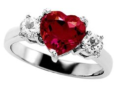 Original Star K (tm) 8mm Heart Shape Created Ruby Engagement Ring - **SEE DETAILS HERE - http://www.perfect-gift-store.com/ruby-rings-for-women.html
