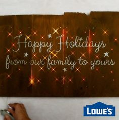 Brighten up your home for the holidays with a DIY Christmas light up sign. Perfect for greeting guests in your entryway or tucking into a cozy corner of your living room, this Christmas craft i Diy Christmas Room, Diy Christmas Lights, Christmas Wood, Outdoor Christmas Decorations, Christmas Signs, Christmas Projects, Diy Christmas Gifts Videos, Room Decorations, Winter Christmas