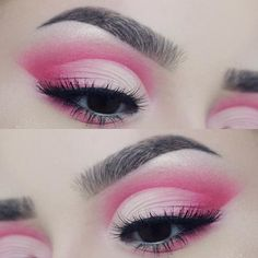 Gorgeous bright pink cut crease make up look