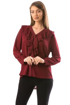 Bluza dama guler in v Ruffle Blouse, Long Sleeve, Sleeves, Tops, Women, Fashion, Moda, Women's, Fashion Styles