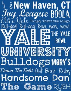 Show your Yale spirit and feed an orphan for a month! Win-Win! Yale University Subway Art  on 11x14 inch by EstSignsFeedsOrphans, $30.00