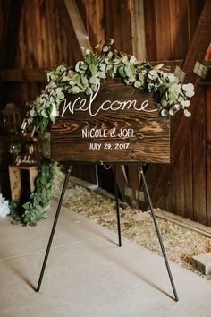 Love this 'welcome' rustic handwritten signage with floral decor| image by The Jar Photography   #rusticweddinginspo #elegantweddinginspo #weddingphotoinspiration #weddingphotoideas #floraldecor #reception #weddingreception #weddingreceptioninspo #receptioninspiration #receptiondecor #receptioninspo #finishingtouches #weddingdecor #weddingsign #signage #handwrittencalligraphy