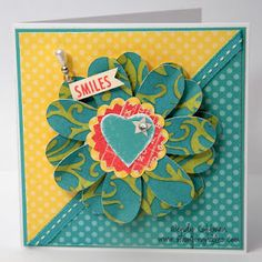 CTMH Dotty for You 3-D flower card SMILES Wendy Coffman