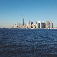 Manhattan from the ferry. #latergram #nyc #vscocam #manhattan #statenislandferry #ocean #ferry - http://instagram.com/jennchambless