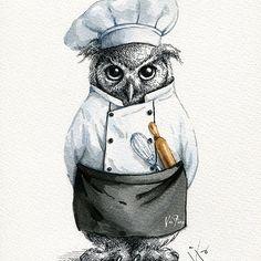 Baker Owl   .  .  .  #owl #illustration #illustrator #illustrationoftheday #art #artsy #artist #artwork #artoftheday #dailyart #dailydrawing #drawing #doodle #painting #sketch #watercolor #ink #instaart #instalike #instadraw #instadaily #instapaint #baker #bakery #characterdesign #イラスト #ilustracion #插畫 #插圖 #viafang