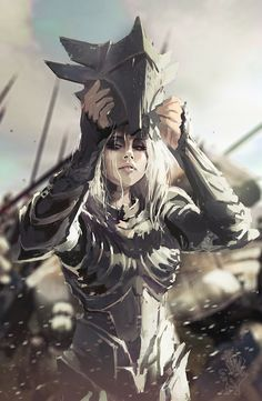 Beautiful female blonde warrior taking of her helmet after the battle. Eowyn?  The Warrior by carlosgarijo on deviantART