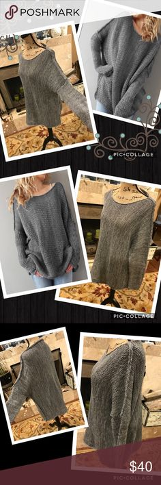 Long oversized knit sweater Size medium to large/extra large possible. Would be on very low end of possible plus size, my suggestions. Light weight knit, wider knit. A blend of 3 shades of gray. Soft and gorgeous. Boho. My Boutique, brand new. Similar: urban outfitter, anthropologie, free people, brandy Melville, for love and lemons, stone cold fox, one teaspoon, topshop, nasty gal, reformation, Zara, april spirit, rag & bone, fashionomics, ASOS, miss me, Rebecca minkoff gypsi's Sweaters