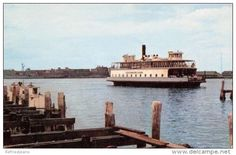 "Vereinigte Staaten - Newport Rhode Island~Jamestown Ferry~""Governor Carr""~1950s Cars on Board~1956 PC"