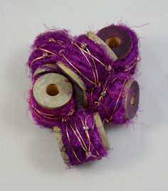 Sari silk wired beads. Beadwork by cgm