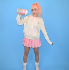 "Sailor theme sweatshirt by Japanese fairy kei brand Milklim with pastel pink ""Strawberry Milk"" printed on the back. Harajuku Girls, Harajuku Fashion, Kawaii Fashion, Sailor Theme, Strawberry Milk, Sanrio Hello Kitty, Japanese Outfits, Kawaii Clothes, Japanese Street Fashion"
