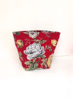 Vintage Roses Barkcloth Project Bag by didyoumakeityourself