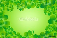 Fresh green four leaf clover / shamrock for luck creating border frame with empty space for your text. Illustration for Saint Patrick's Day, suitable for greeting card as background texture. Empty Spaces, Four Leaf Clover, Fresh Green, Textured Background, St Patricks Day, Royalty Free Images, Frames, Greeting Cards, Stock Photos