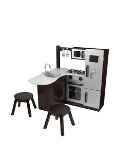 Can't decide which kitchen set we like best! Here's one of our top choices. KidKraft Modern Corner Kitchen w/Stools - Espresso Diy Play Kitchen, Toy Kitchen, Kitchen Sets, Kidkraft Kitchen, Real Kitchen, Play Kitchens, Diy For Kids, Gifts For Kids, Espresso Kitchen