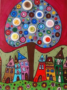 Fabric Painting, Painting & Drawing, House Quilts, Naive Art, Whimsical Art, Art Plastique, Doodle Art, Art Lessons, Painted Rocks