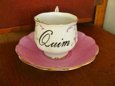 Quim hand painted vintage bone china teacup and by trixiedelicious