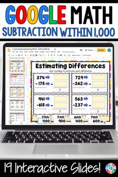 """LOVE THE VARIETY OF SLIDES!"" With this 3rd Grade Subtracting Within 1,000 resource for Google Slides, your students will practice subtracting within 1,000. Students will love interacting with the movable pieces and typing their responses on these slides! Teaching Subtraction, Addition And Subtraction Practice, Teaching Math, Google Classroom, Math Classroom, Math Math, Flipped Classroom, Multiplication, Fractions"