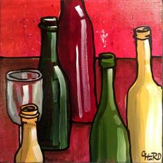 Wine bottle art for the kitchen. Artist, Gary Herd.