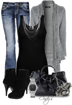 black tank w/ gray cardigan & jeans - black/silver accessories