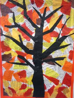 Fall Tree Collage | Fall Art Project | Create this simple activity using tissue paper, construction paper, and newspaper.