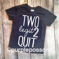 Two Legit 2 Quit Kids Birthday Shirt Hipster 2nd Cool Boy Girl
