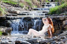 Model waterfall portrait