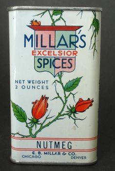 Antique/Vintage Millar's Nutmeg Spice Tin, Advertising/Chicago/Denver, NICE #Millars