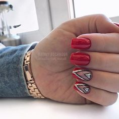 If you love red and black nail designs or looking for a special Halloween nail art look, get inspired by these fabulous red and black nail art designs! Black Nail Designs, Nail Designs Spring, Trendy Nail Art, Cool Nail Art, Black Nails, Pink Nails, Red And Silver Nails, Pastel Nails, 3d Nails