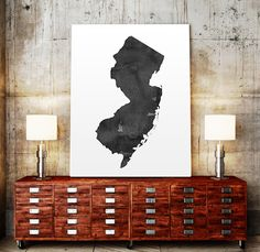 Printable New Jersey State Map Wall Art New Jersey by TypoWorld
