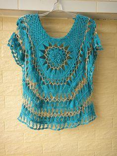 Handmade Hairpin Crochet Tops Floral Womens Sheer Blouse Bat Wings