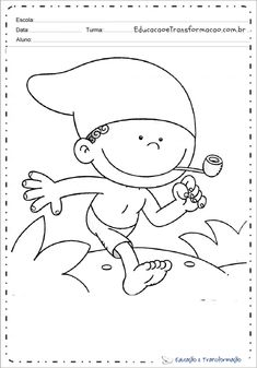 Desenhos do Saci Pererê para colorir e imprimir - Folclore Brasileiro Activities For Kids, Crafts For Kids, Diy Crafts, Embroidery Patterns, Spiderman, Hello Kitty, Snoopy, Wallpaper, Halloween