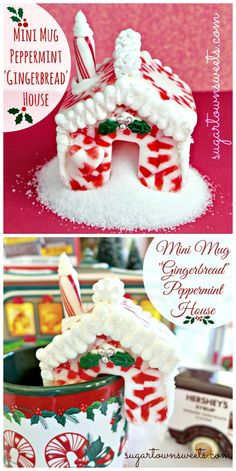 """Seriously cute! Make a Peppermint """"Gingerbread"""" House with melted candy! ADORABLE!"""