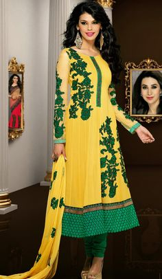 Yellow #Designer #Churidar #Suit | @ $111.31