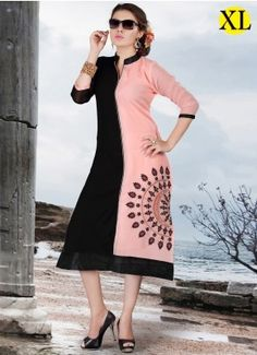 Black And Pink Georgette Embroidery Designer Kurti   R-119