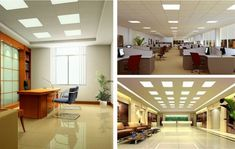 office space, sol en dalles faiences, dalle faux plafond lumineux