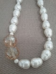 White shell pearl and champagne crystal by LizmonDesignJewelry