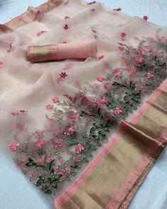 Organza silk saree with embroidery Price : Imcluding Shipping in India Colour : peachpink . **colours may slightly vary due to… Organza Saree, Chiffon Saree, Saree Dress, Cotton Saree, Silk Dress, Banarsi Saree, Anarkali Gown, Kanchipuram Saree, Silk Lehenga