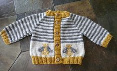 knits quickly in worsted weight yarn. Shown: Size 6 months, knitted with Lion Brand Wool-Ease in natural heather. Baby Sweater Patterns, Baby Cardigan Knitting Pattern, Knit Baby Sweaters, Knitted Baby Clothes, Trendy Baby Clothes, Baby Patterns, Baby Boy Knitting, Knitting For Kids, Brei Baby