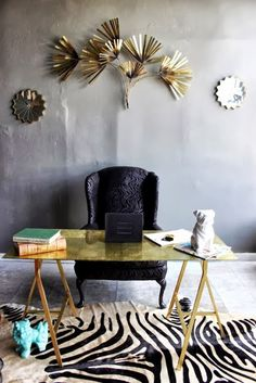 The Decorista-Domestic Bliss: office space of the day...back to black