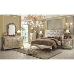 Homey Design- HD13005 Victorian Elegant Pearl Finish With Leather Tufted Headboard And Decorative Casegoods