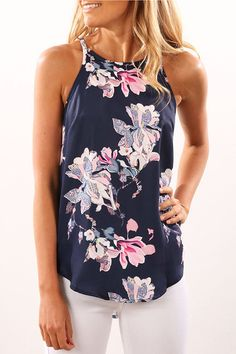 833367c68d6 Navy Rancom Floral Print Round Neck Cami Cheap Summer Clothes